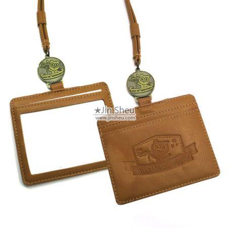 Leather ID Badge Wallet Lanyard - Leather ID Badge Wallet Lanyard