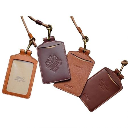 Leather ID Badge Card Holders - custom debossed logo leather card holder with neck strap
