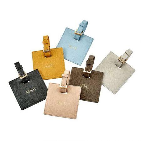 custom square PU leather luggage tags