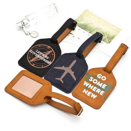 personalized logo imprinted leather luggage tags