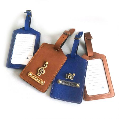 custom made leather luggage name tags with metal charm