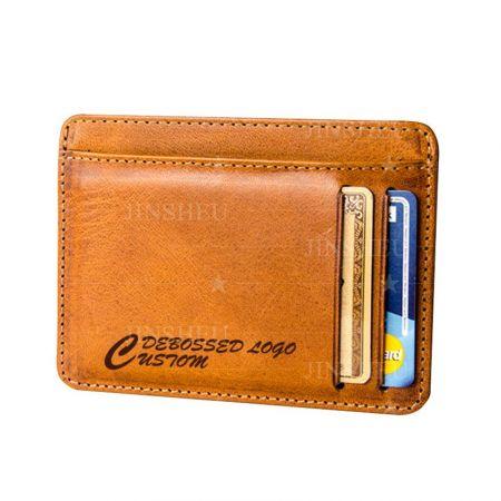 custom logo slim leather credit card holders
