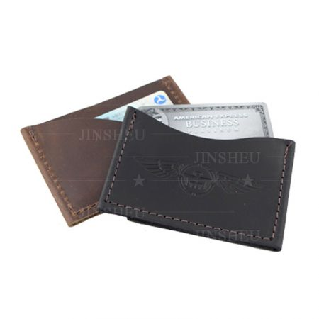 custom debossed logo leather card sleeve holder