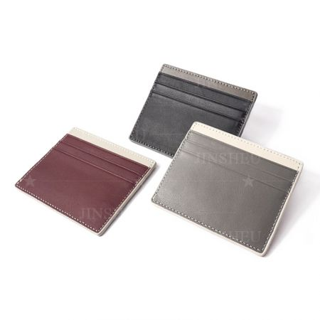 custom high end leather slim wallet card holder