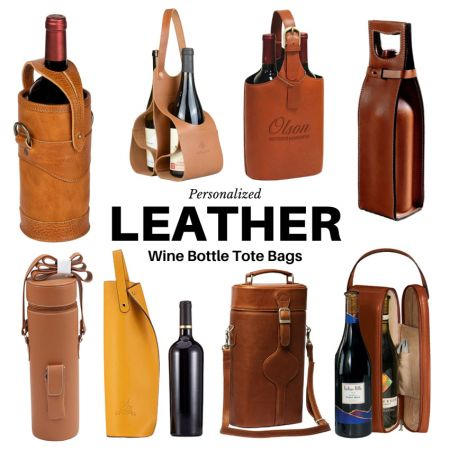 Leather Wine Bottle Tote Bags - Leather Wine Bottle Tote Bags