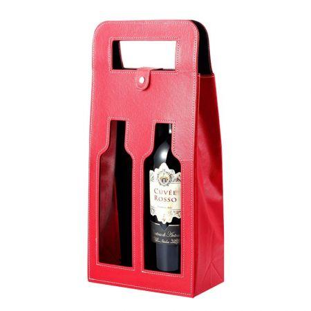 custom leather dual wine bottle bags