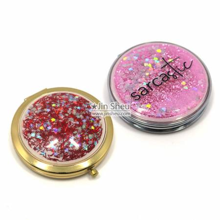 Liquid Glitter Compact Mirrors - Liquid Glitter Compact Mirrors