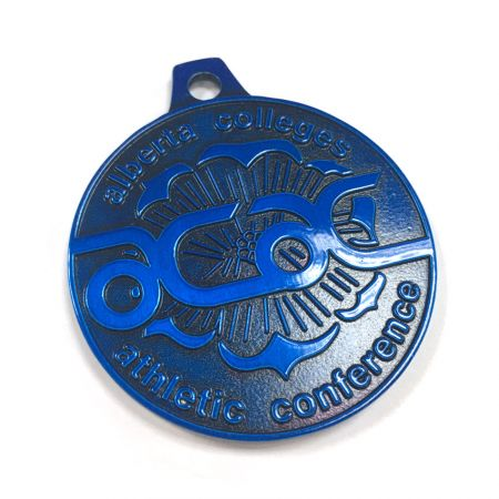 custom antique electrophoresis blue plated souvenir medallion