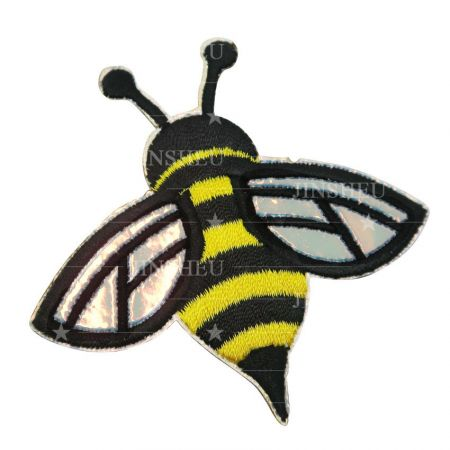 personalized bee embroidered holographic wing patch