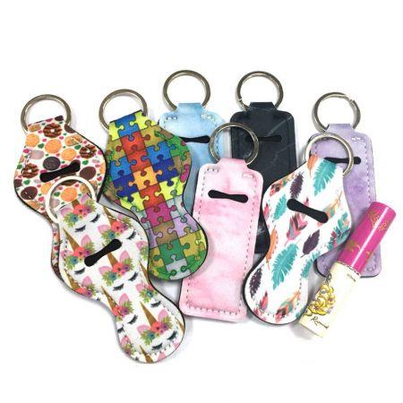 Neoprene Chapstick Holder Keychain - Custom Made Lip Blam Holder Keychain
