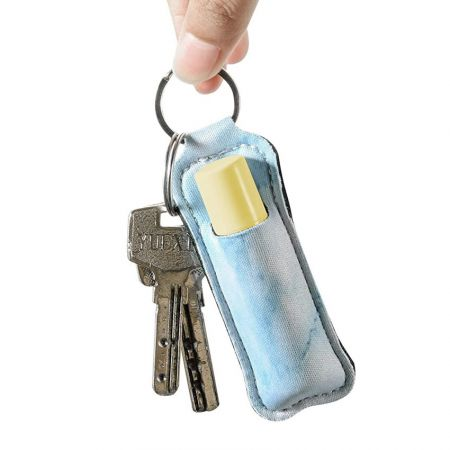 customize neoprene chapstick holder keychain