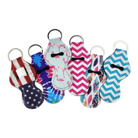 wholesale neoprene lip balm holder keyring