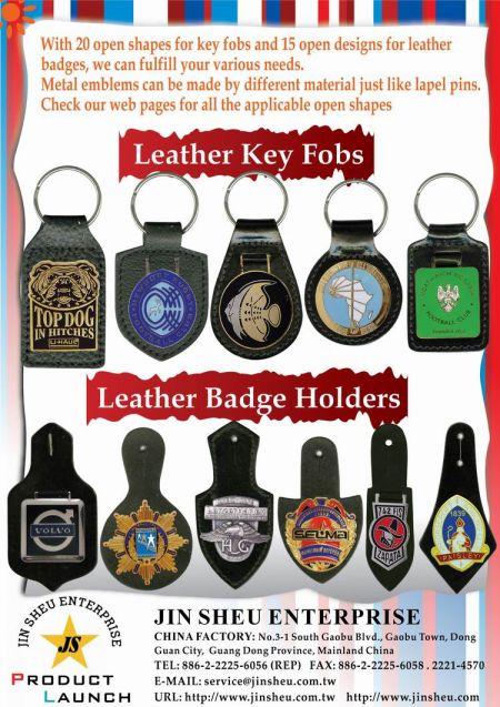 Police Mini Badge Leather Keyring FOB - Leather Key Fobs