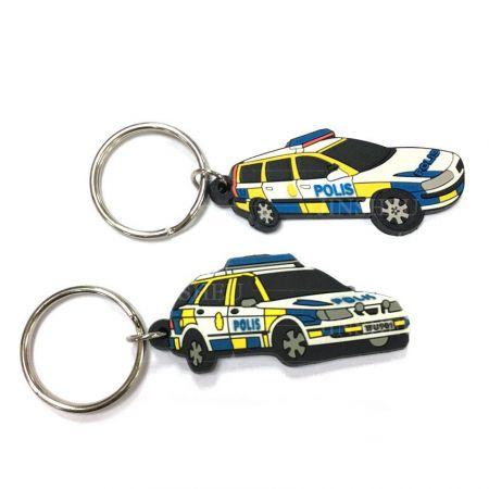 Custom Police Car Rubber Keychain - Custom Police Car Rubber Keychain