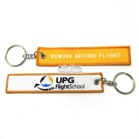 Woven Fabric Jet Pilot Aviation Key Tags - woven remove before flight key tags