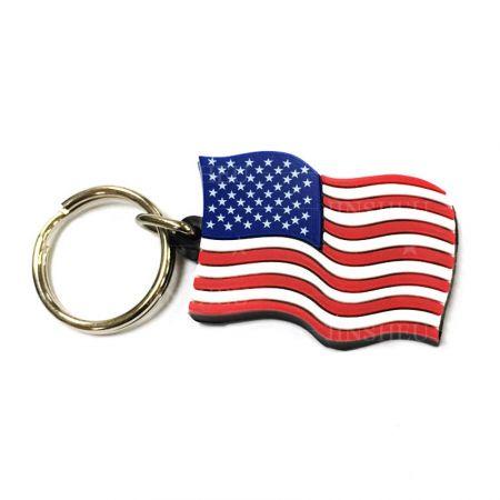 Custom PVC Rubber National Flag Keychain - Custom American Flag Rubber Keychain