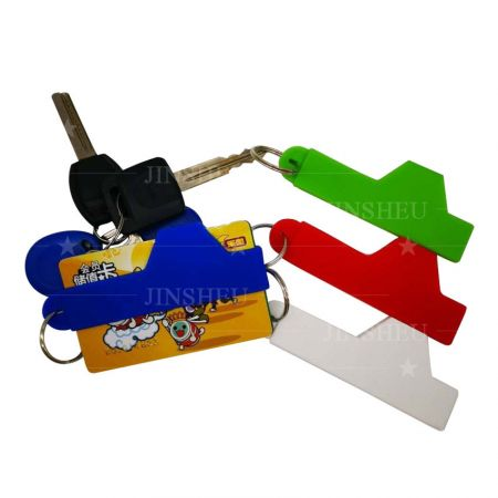 silicone cards wallet band with carabiner keychain