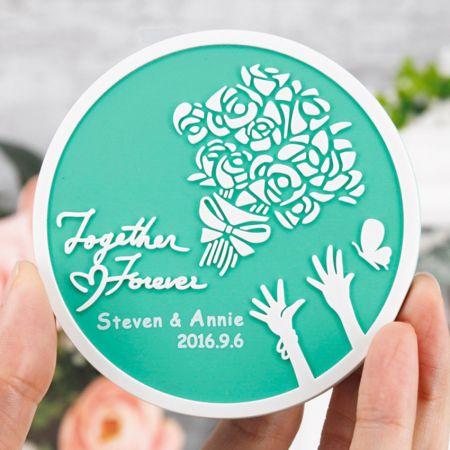 Tiffany Blue Wedding Coasters - round rose bouquet wedding coaster