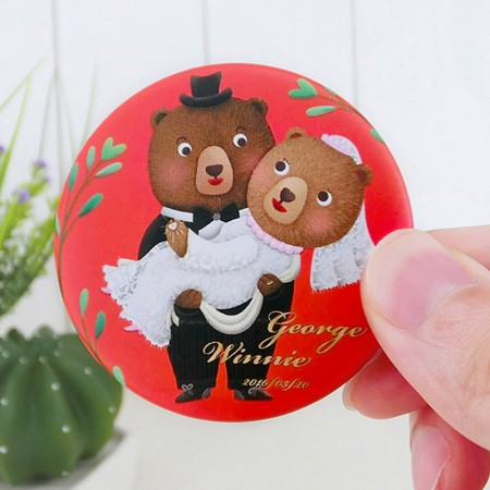 Wedding Button Badges - cute bear wedding button badge