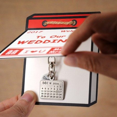 Wedding Date Calendar Keyrings - Personalized Date Calendar Keyrings