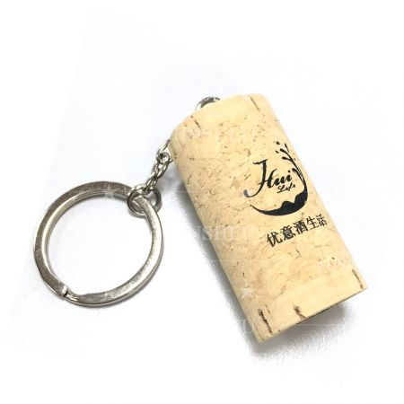 custom logo printed wine cork souvenir keychain