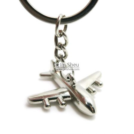 3D silver plated jet keychains