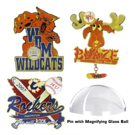 Pin with Magnifying Glass Ball - Lapel pins with magnifying glass ball