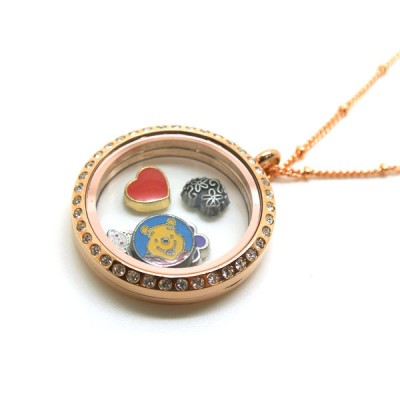 Floating Charms - Wearing floating charm locket necklace to celebrate each precious day.