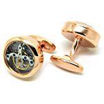 Open Designed Cufflinks - Rose gold watch movement cufflinks