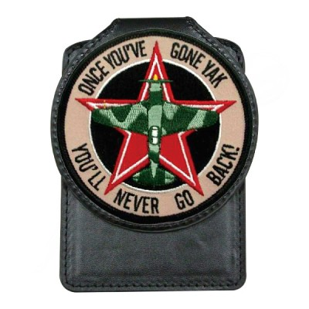 Embroidered Leather Badge Holder - Custom Embroidered Emblem Leather Badge Holder