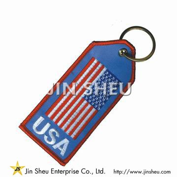 Country Flag Embroidered Keytags - Nation Flag Embroidery Keychains