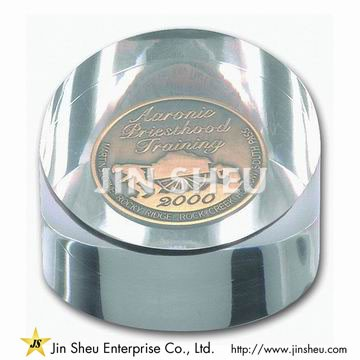 Cylinder Paper Weight with Coin Embed - Custom Paper Weights
