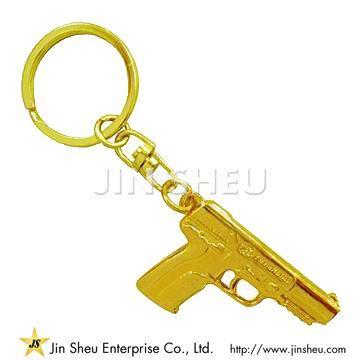 Metal Gold Gun Keychain