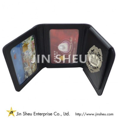 Tri-Fold Badge Wallet - police badge wallet