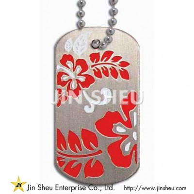 Personalized Dog Tags with Floral Motif - Photo Etched Dog Tags