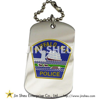 Engraved Dog Tags with Police DEPT Motif - Police Officer Dog Tags