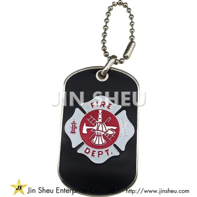 Personalized Dog Tags with Fire Fighter Motif - Fire Dept Firefighter Dog Tags