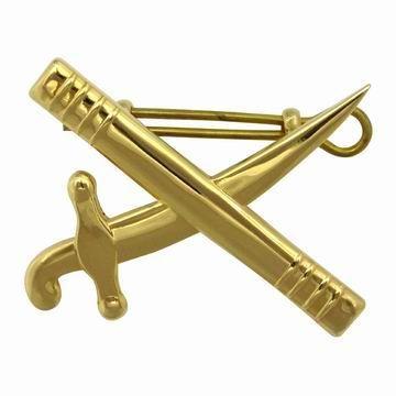 Crossed Baton Sword Army Hat Badge - Crossed Baton Sword Army Hat Badge