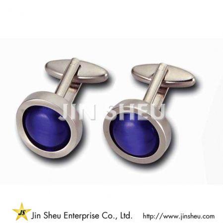 Purple Onyx Cufflinks - Personalized Purple Circle Cufflinks