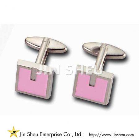 Square Cufflink - Custom Made Pink Square Cufflink