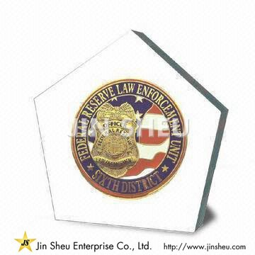 Pentagon Lucite Paperweight - Pentagon Lucite Paperweight