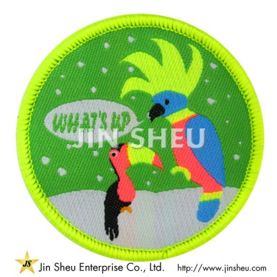 Neon Parrot Bird Woven Patches - Neon Woven Cloth Patches