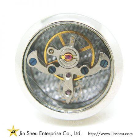 Watch Cufflinks - Round silver watch movement cufflinks