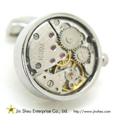 Round Watch Cufflink - Round watch movement cufflinks