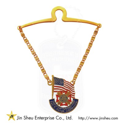 Tie Bar Tie Chain - Tie Tack With Chain