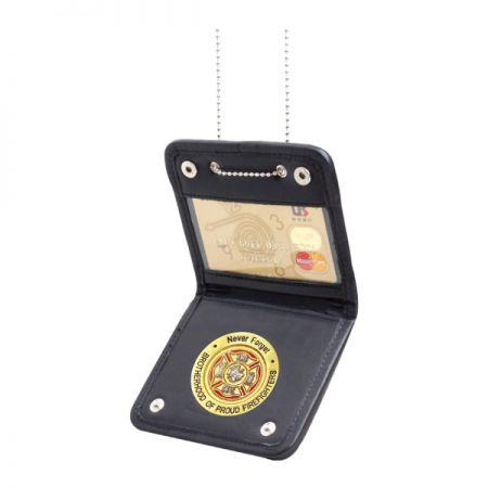 Metal Badge Wallet - Leather Badge Wallet