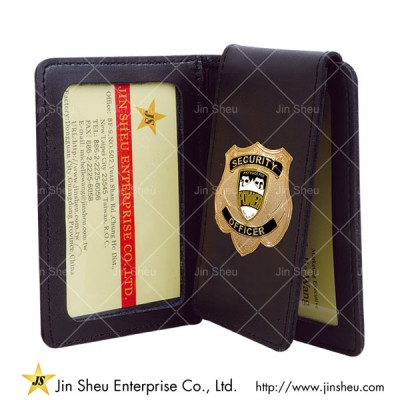 Leather Badge Holder - Personalized FBI Federal Bureau Investigations Mens Black Leather Bi Fold Medallion Badge Wallet