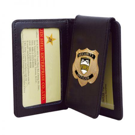 Leather Badge Holder - Personalized FBI Federal Bureau Investigations Mens Black Leather Bi Fold Medallion Badge Wallet
