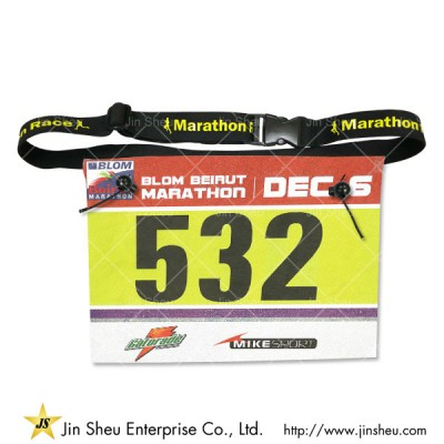 custom marathon bib numbers with belt