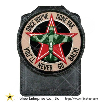 Embroidered Leather Badge Holder | Promotional Products & Items